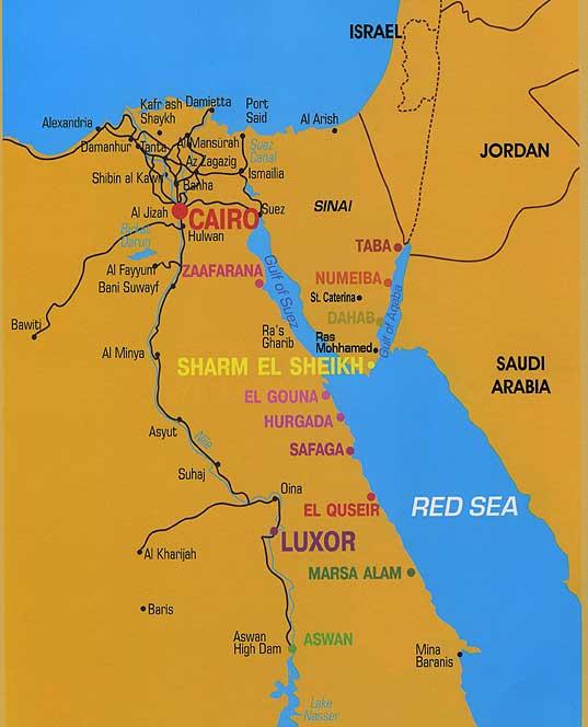 Карта Египта, отдых на